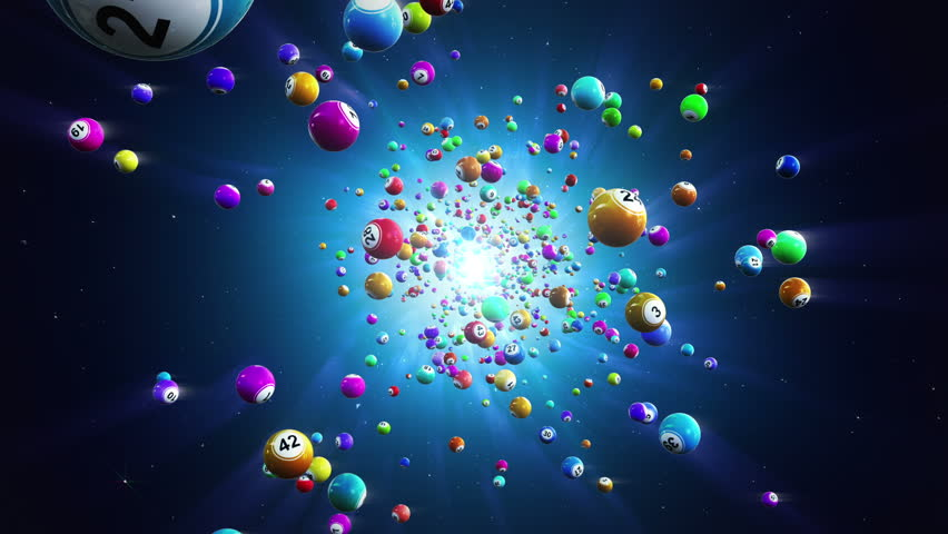 Lottery balls loopable background. Flight colouored bingo balls. Loopable background