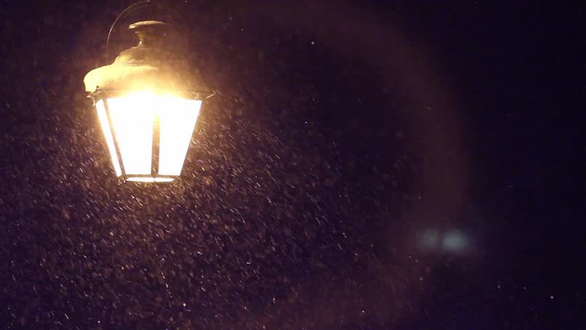 Night Winter Street Lamp With Falling Snow - HD stock footage clip