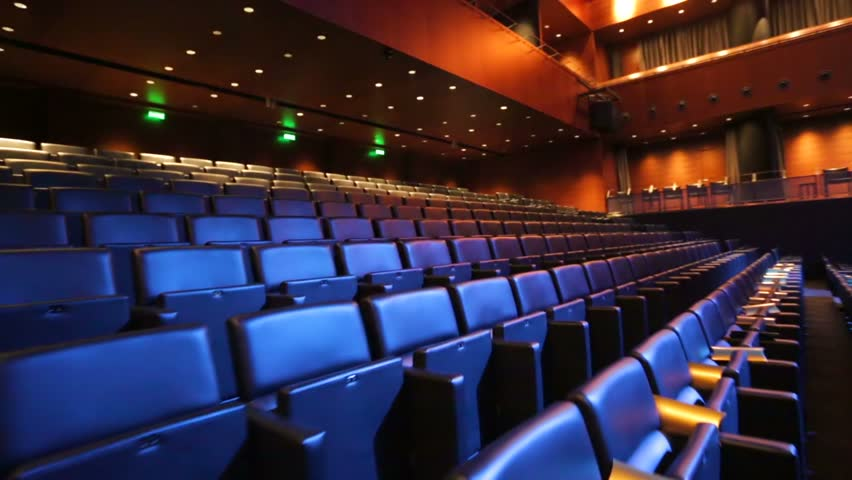 View of empty cinema hall with comfortable leather seats. | Shutterstock HD Video #9087125