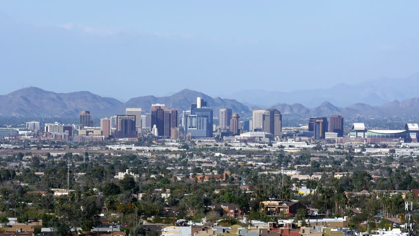 Wide shot of the downtown Phoenix skyline during the day. 4K UHD footage. - 4K stock video clip