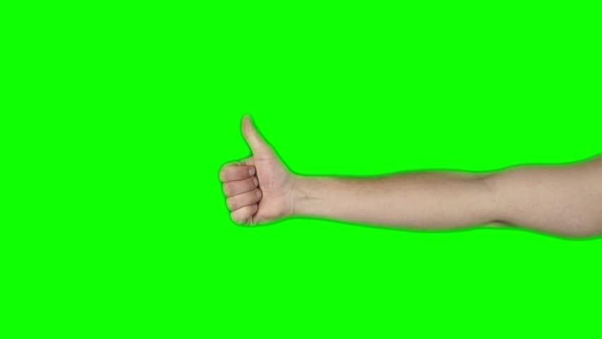 Thums Up Hand on Green Screen Chroma Key | Shutterstock HD Video #9116348