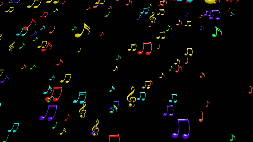 Animated Flying Colorful Music Notes On Black Background ...