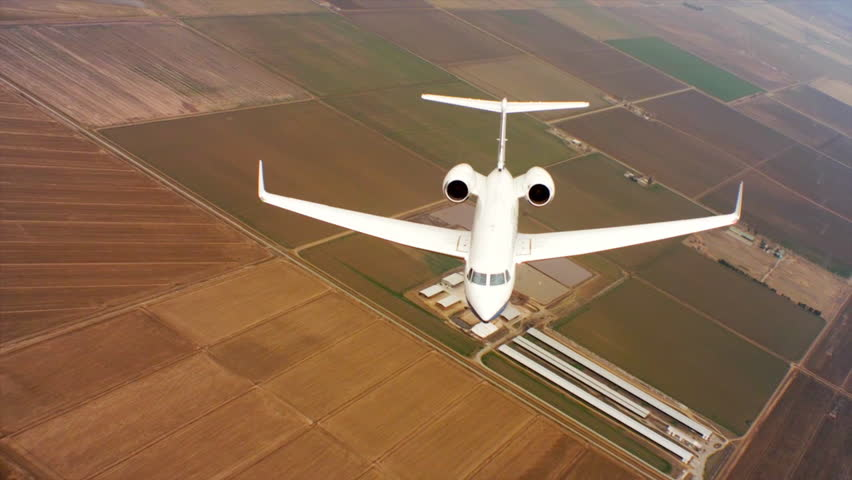 CIRCA 2010s - Aerials of the U.S. Air Force Air Mobility Command C37 executive U.S. government jet in flight.