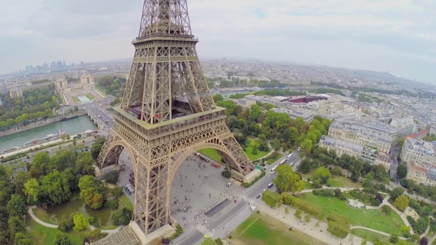 Cityscape with crowd of tourists walk near Eiffel Tower at autumn day. Aerial view   Shutterstock HD Video #9149603