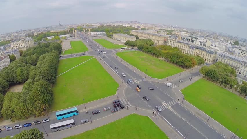 PARIS - SEP 11, 2014: City traffic on Esplanade of Les Invalides at autumn day. Aerial view. Square length is 487 meters. | Shutterstock HD Video #9149612