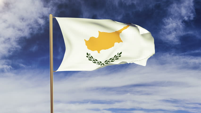 Cyprus flag waving in the wind. Looping sun rises style.  Animation loop. Green screen, alpha matte. Loopable animation   Shutterstock HD Video #9177017