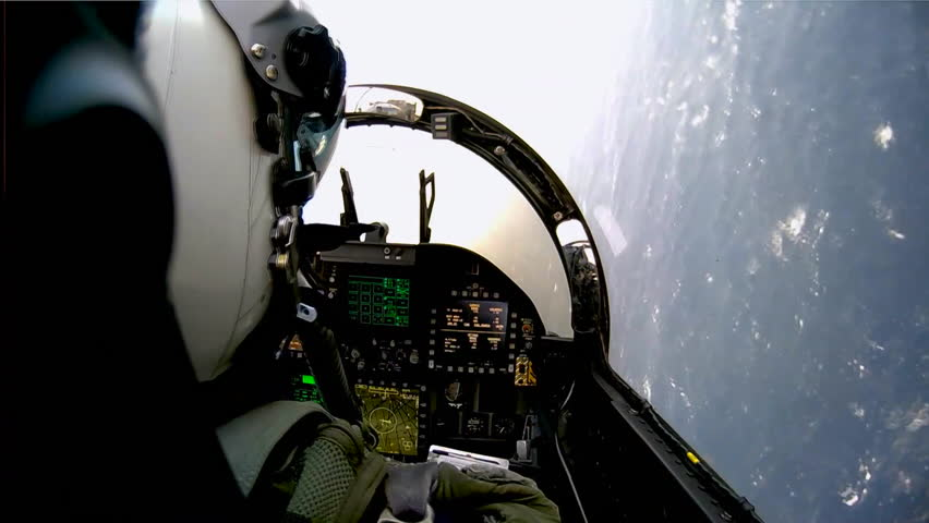 CIRCA 2010s - POV shots from the cockpit of a fighter plane.