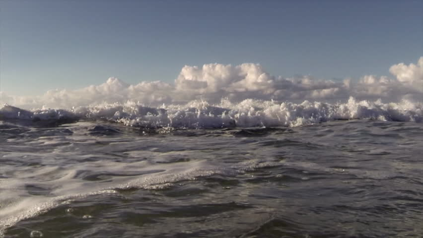 HAWAII - CIRCA 2015 - POV shot of slow motion waves crashing into shore including underwater perspective. | Shutterstock HD Video #9189185