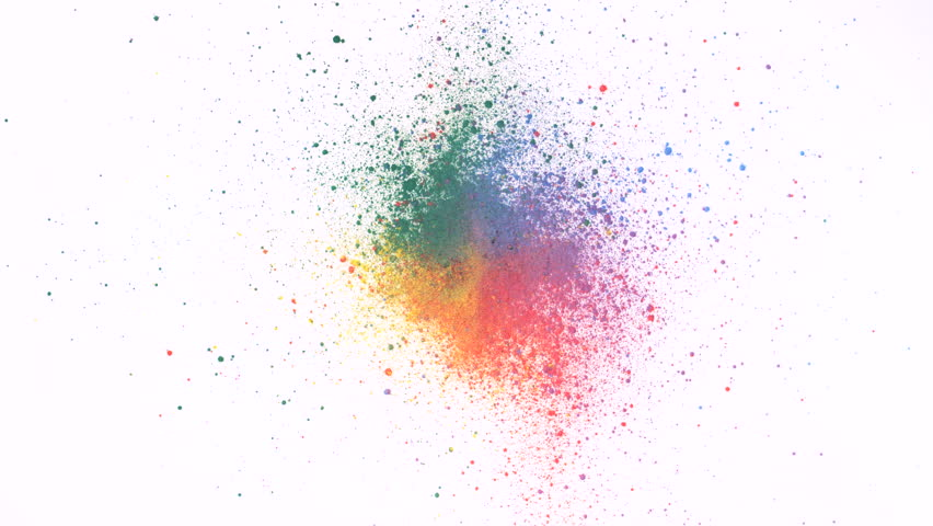 Particles/powde exploding against white background. Shot with high speed camera, phantom flex 4K. Slow Motion. Unedited version is included at the end of clip.