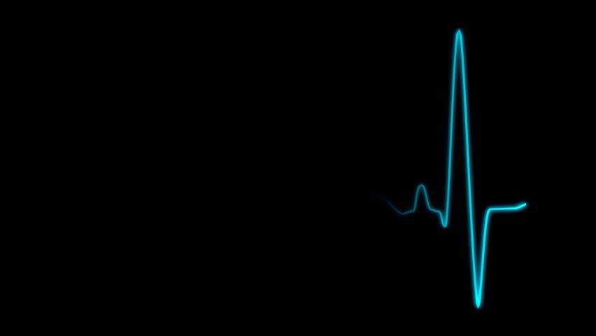 Cardiogram Cardiograph Oscilloscope Screen Blue Loop Stock