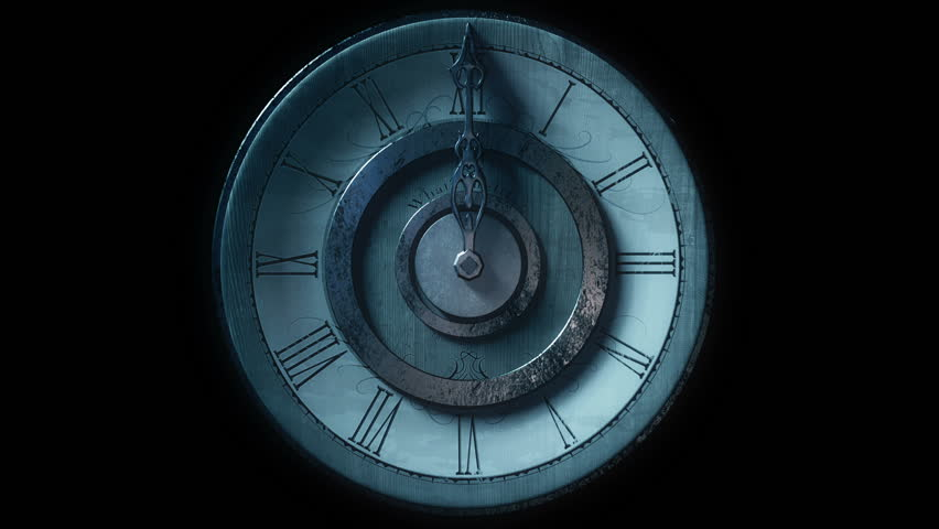 Front view of vintage wall clock with one metal pointer animated going one full circle. Looping on black background. Bluish, night look. | Shutterstock HD Video #9218291