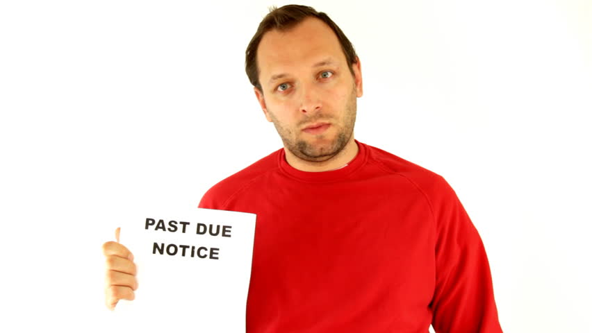 Man holding past due notice, isolated on white - HD stock footage clip