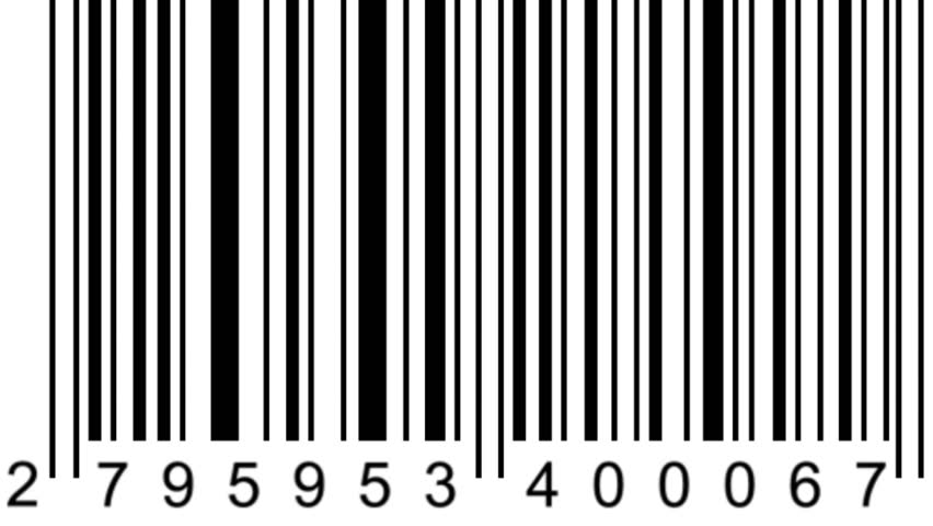 barcode scanner by barcode reader. Closeup on array of digits. chaos digits
