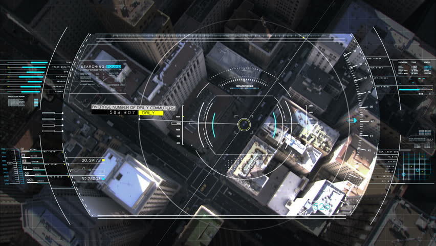 Drone Technology USA spy satellite GPS motion graphics aerial HUD flight city