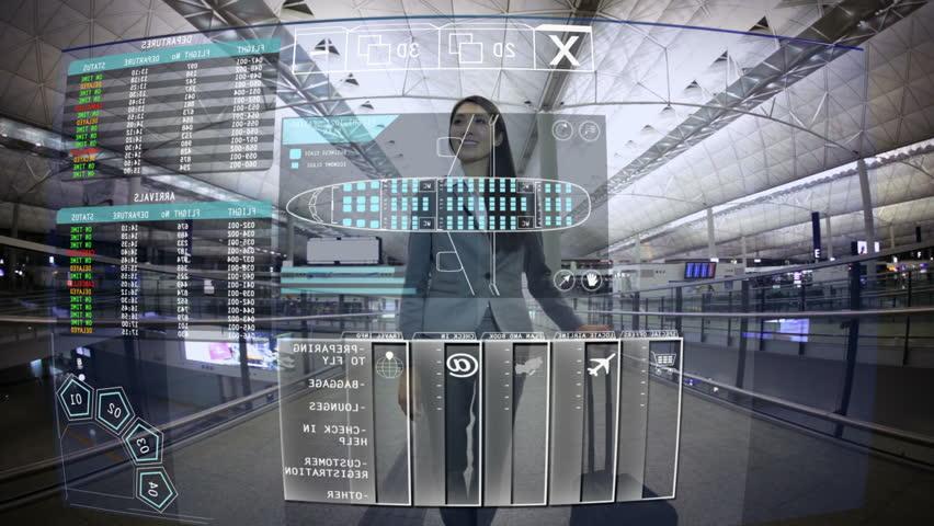Businesswoman Asian Travel Airport Board technology Touchscreen motion graphics   Shutterstock HD Video #9276944
