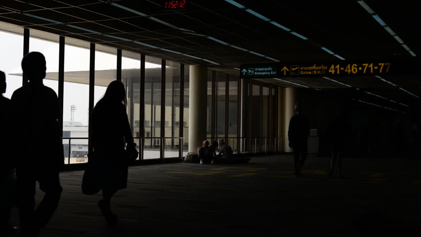 Travelers silhouettes at Don Muang airport