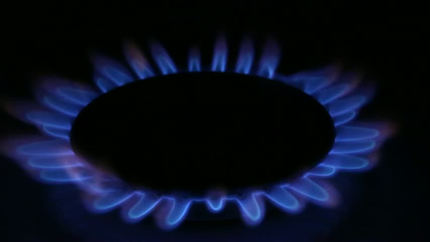 Flame of gas burner cooker. Burning flame gas shot in the dark. - HD stock video clip