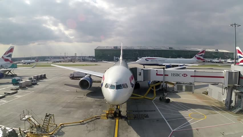 HEATHROW, LONDON, ENGLAND, September 21 2014: British airways jetliner at a loading gate, Heathrow, London.