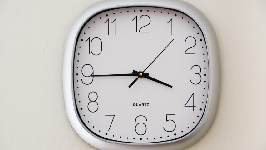Wall clock timelapse going from 4 to 6, concept about time around the time of leaving work, time flies stock footage