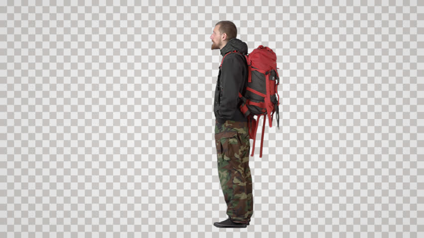 Bearded tourist in khaki with big red backpack stands, waits. Back view. Footage with alpha channel. File format - mov. Codec - PNG+Alpha Combine these footage with other people to make crowd effect
