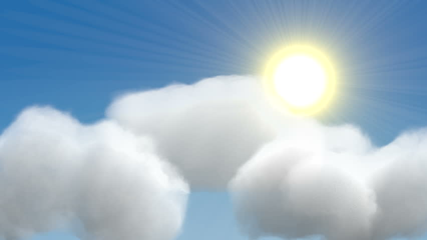 animation of a sunny day changing into a partly cloudy