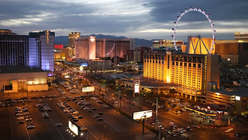 las vegas nevada march 22 2015 twilight time lapse of the high roller ferris wheel and las. Black Bedroom Furniture Sets. Home Design Ideas