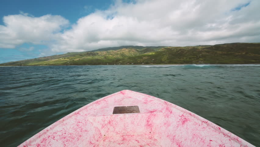 POV view on a small fishing boat in the Hawaiian Islands between Molokai and Maui | Shutterstock HD Video #9457574