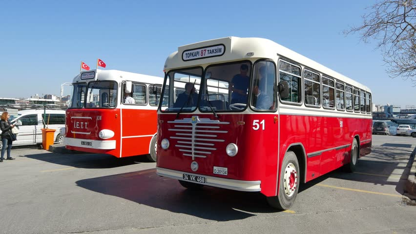 ISTANBUL - APR 1, 2015: Nostalgic IETT busses at Eminonu Hub. Istanbul offers public transport services to more than 3.5 million passengers every day.