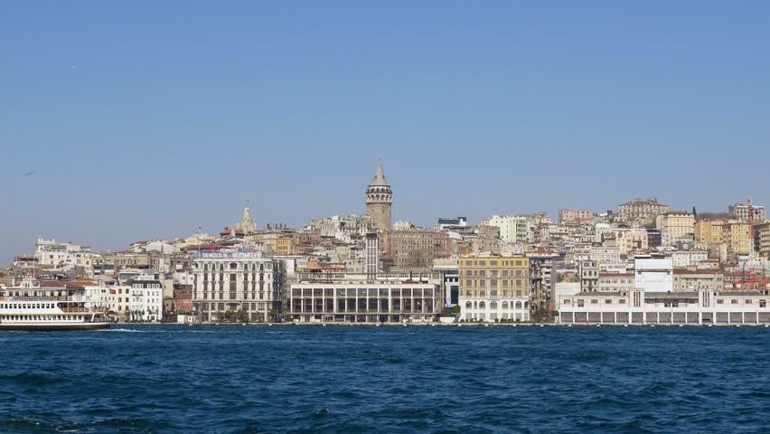 ISTANBUL - APR 1, 2015: Karakoy port from cruise ship in Istanbul, Turkey