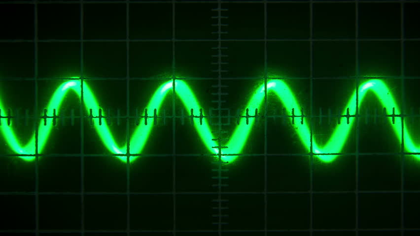 Old Oscilloscope Screen : Pulses and sine waves on an old oscilloscope screen stock