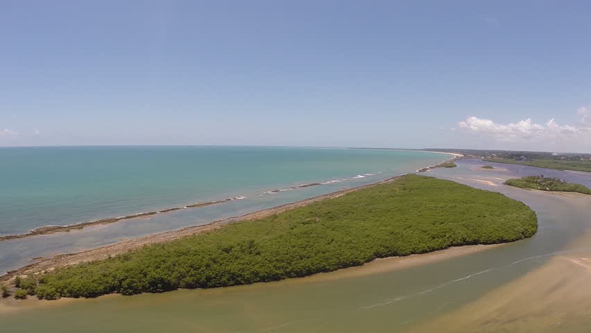 Aerial view of Santo Andre beach, just sand, water and mangroves, a little paradise, bahia, Brazil - HD stock video clip