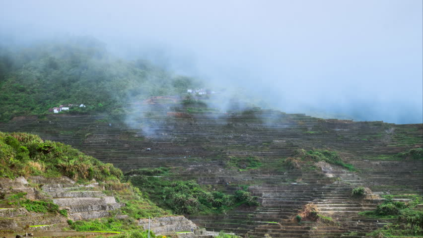 Rainy season in Ifugao province mountains with rice terraces fields Time lapse  Philippines UNESCO heritage