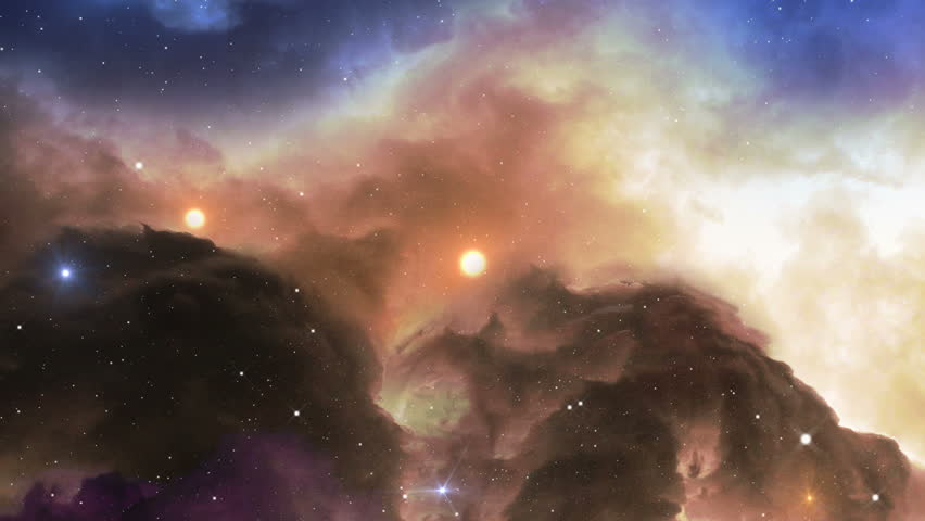 A 4k UHD space scene. Fly over a glowing gas nebula in space. 11619