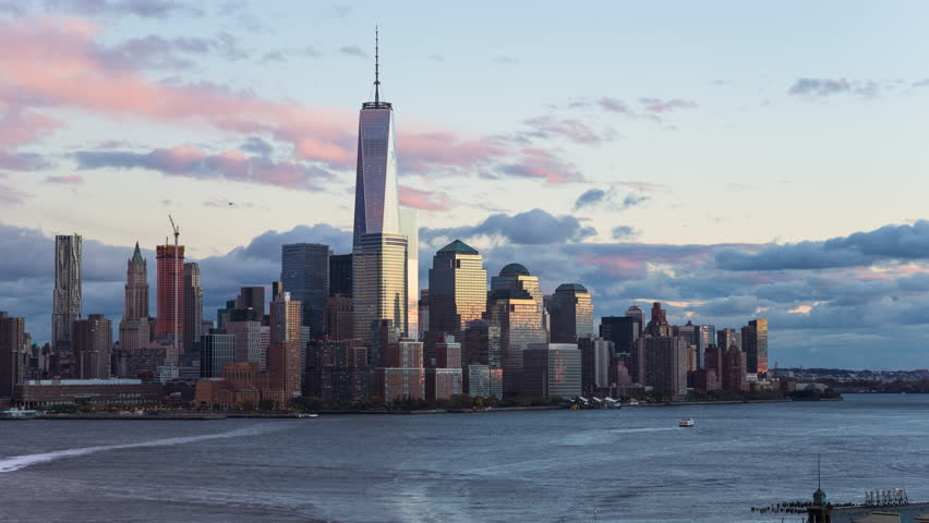 New York - CIRCA NOVEMBER 2014: One World Trade Center and Downtown Manhattan across the Hudson River, time-lapse | Shutterstock HD Video #9520115