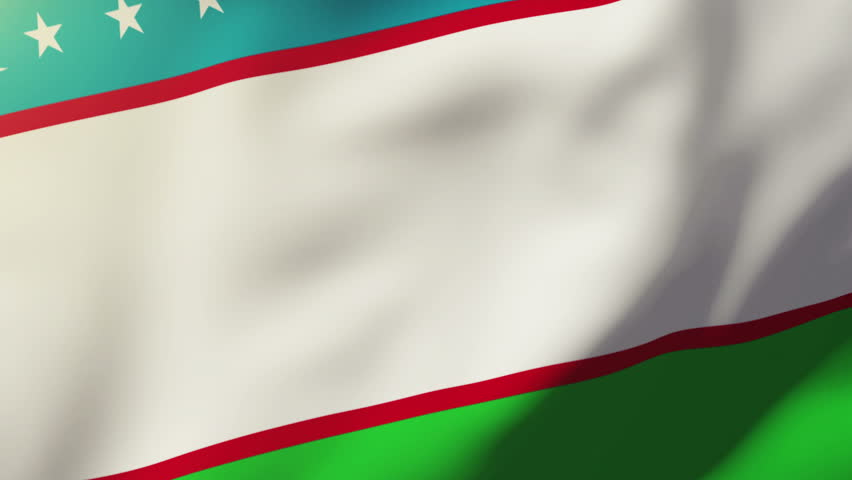 Uzbekistan flag waving in the wind. Looping sun rises style.  Animation loop