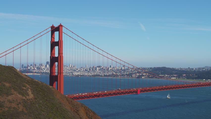 Golden Gate Bridge with San Francisco Skyline - 4K stock video clip