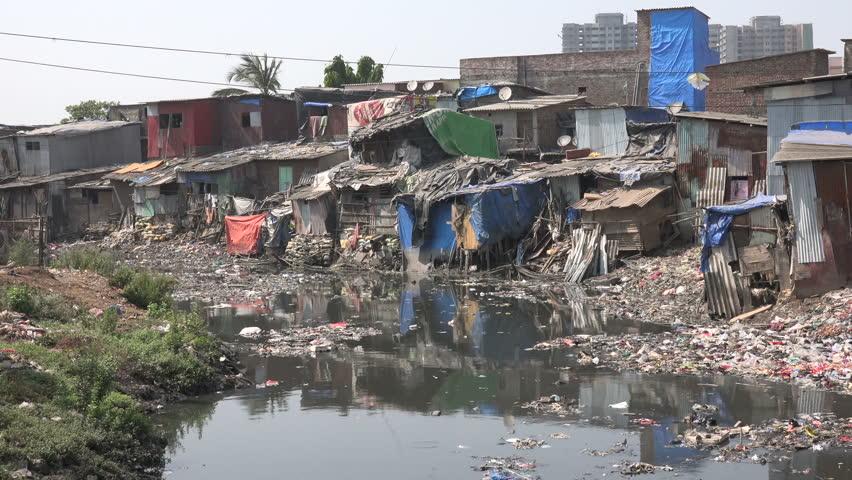 Slum housing and pollution in Mumbai, India.