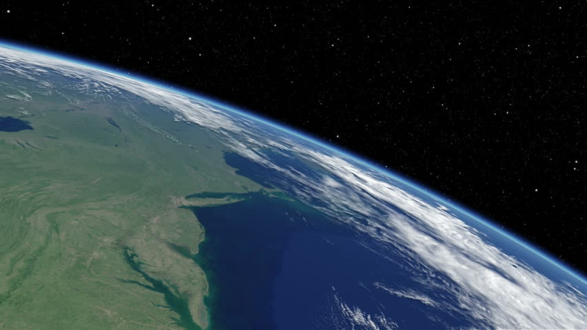 Simulated International Space Station earth orbit flyover of the North American Atlantic coast from New York to Jacksonville, Florida. Available in UHD and DCI 2K/4K sizes, by request. - HD stock footage clip