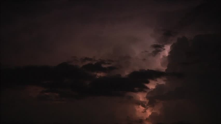 Thunder storm over Mediterranean sea at night. - HD stock footage clip