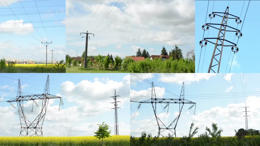 4K montage (compilation) - high voltage with nature and buildings - blue sky with clouds   Shutterstock HD Video #9575960