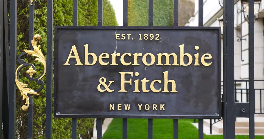 PARIS, FRANCE - APRIL 6, 2015: Abercrombie & Fitch clothing store plate on Champs Elysees. A&F is an American retailer with over 400 locations in the United States, and it's expanding internationally.