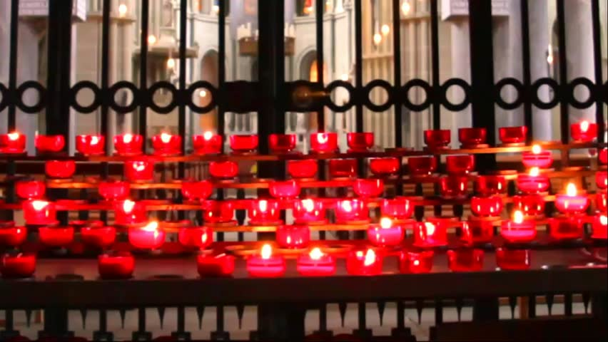 BERN, SWITZERLAND - AUGUST 14: Candles at the  Cathedral on August 14, 2013 in Bern, Switzerland - HD stock video clip