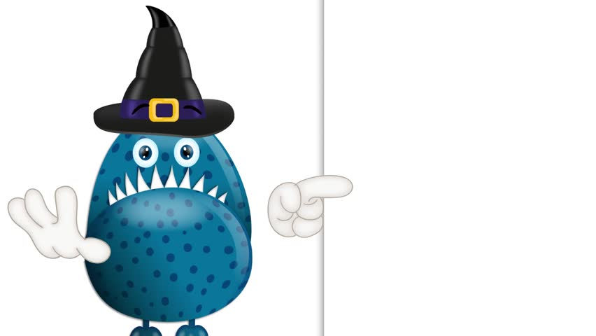 Monster Garry with Magic Hat Halloween Cartoon Advertising Space | Shutterstock HD Video #9720878