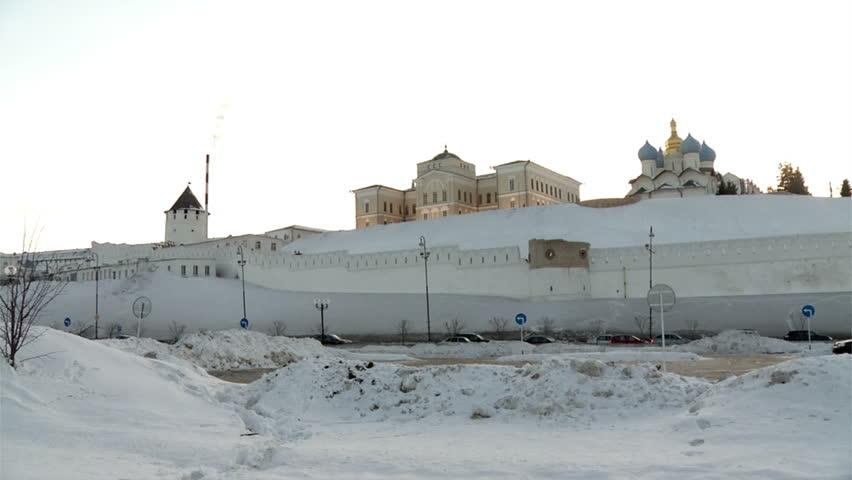 Kazan Kremlin winter road near HD - HD stock video clip