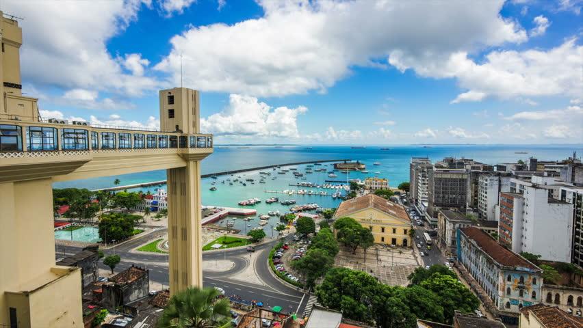 Timelapse view of Lacerda Elevator and All Saints Bay (Baia de Todos os Santos) in Salvador, Bahia, Brazil.