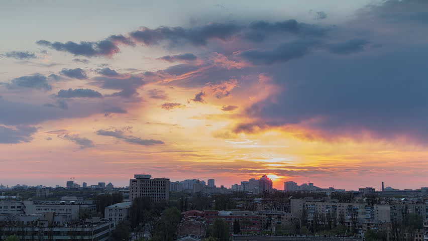 High quality 10bit footage of city sunset without birds and destructive color correction in ProRes. | Shutterstock HD Video #9737204
