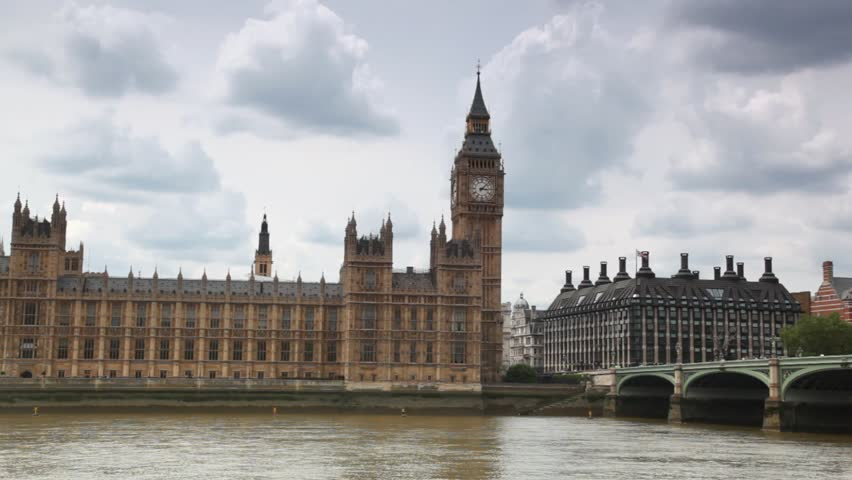 Houses of Parliament, Big Ben and Westminster Bridge near Thames - HD stock footage clip