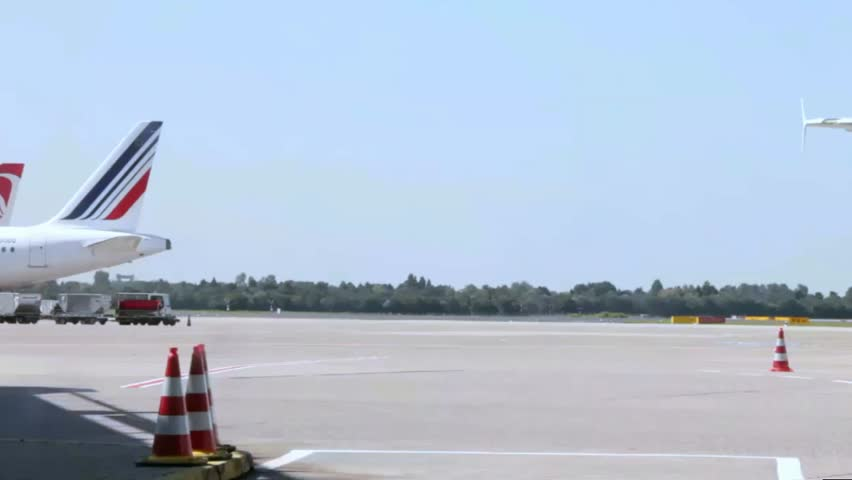 DUSSELDORF, GERMANY - CIRCA AUGUST:  Busy life of international airport on circa August, 2014 in Dusseldorf, Germany