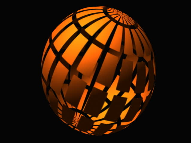 "pumpkin-like globe with radioactive symbol and explodes- no ""titles"" - SD stock footage clip"