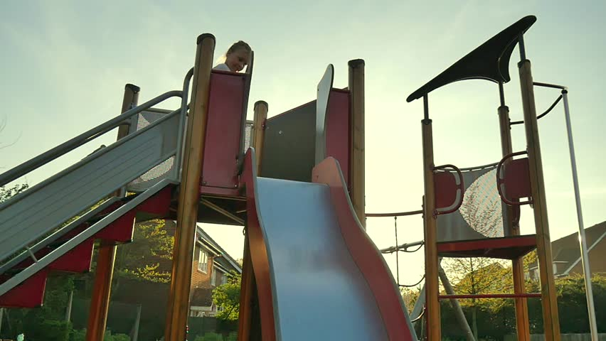 little girl in playground  - HD stock footage clip